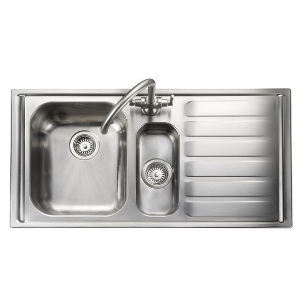 Rangemaster Manhattan 1.5 bowl right handed kitchen sink with waste kit and Schon C spout WRAS kitchen tap
