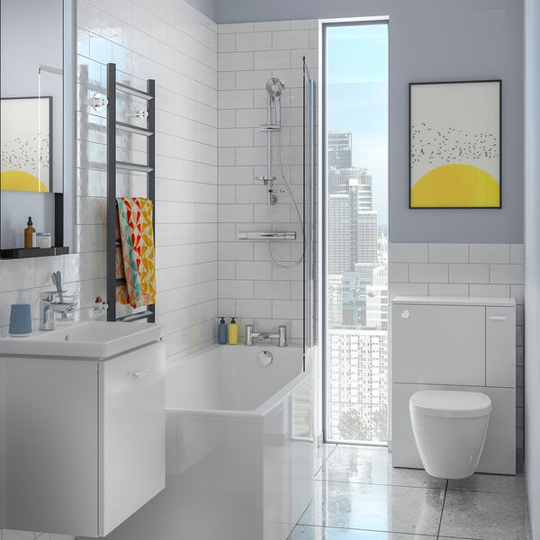 Ideal Standard Concept Space white complete right handed shower bath suite with shower, toilet unit,  screen, taps, panel and waste 1700 x 700