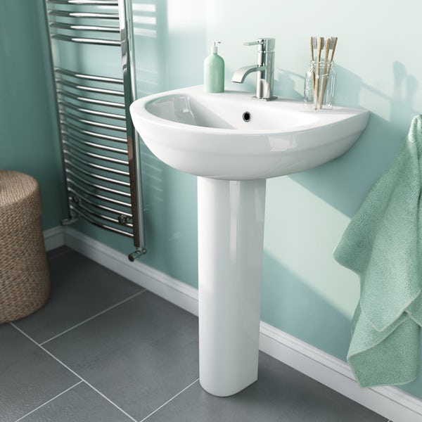 Orchard Balance 1 tap hole full pedestal basin 540mm