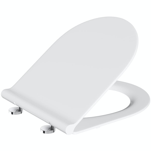 Slim D shape thermoset toilet seat with soft close hinges and quick release
