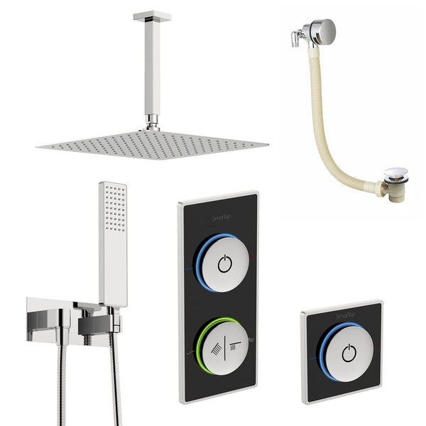SmarTap black smart shower system with complete square ceiling shower outlet bath set