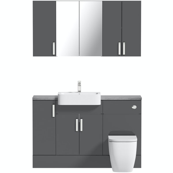 Mode Nouvel gloss grey small fitted furniture & storage combination with pebble grey worktop