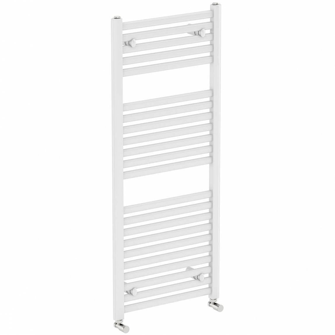 Clarity White heated towel rail 1200 x 600