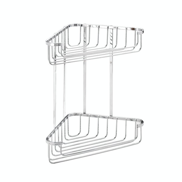 Croydex Rust free large two tier corner basket