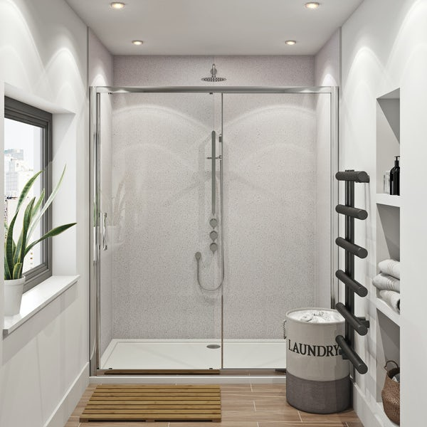 Mode Hardy shower door pack 1700 x 700 with Multipanel Economy Sunlit quartz shower wall panels