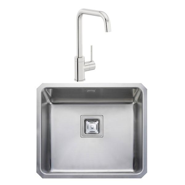 Rangemaster Atlantic Quad 1.0 bowl undermount kitchen sink with waste and Schon L spout tap