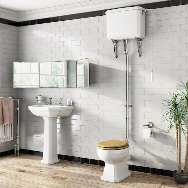 Regency High Level Toilet Incl Luxury Solid Oak Seat