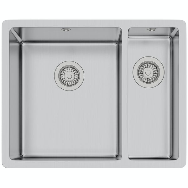 Tuscan Sovana premium brushed steel 1.5 bowl square flush right handed kitchen sink