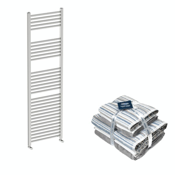 Orchard Eden round chrome heated towel rail 1600x500 with Silentnight Zero twist grey 4 piece towel bale
