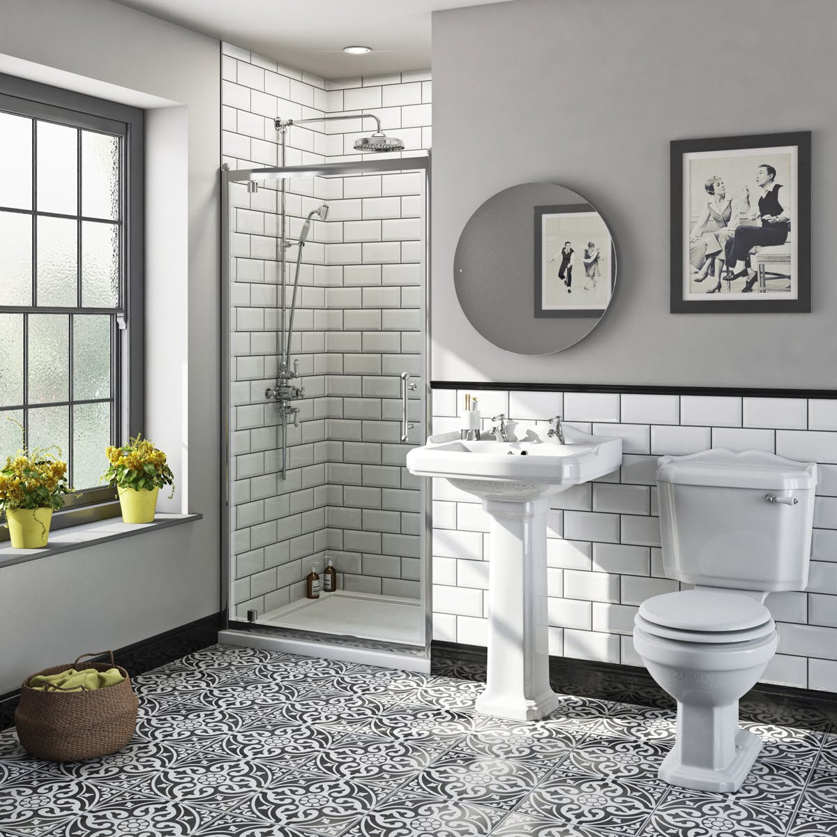 The Bath Co Winchester Pivot Shower Door Suite With Taps And Shower System