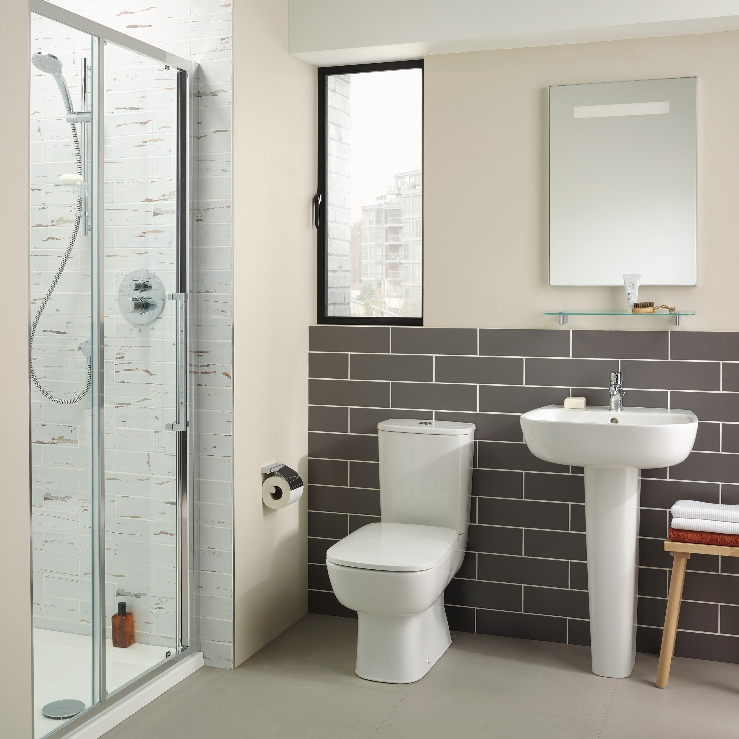 Ideal Standard Studio Echo cloakroom suite with open close coupled toilet and full pedestal basin 550mm