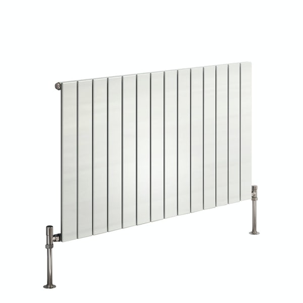 Reina Flat white horizontal single panel steel designer radiator