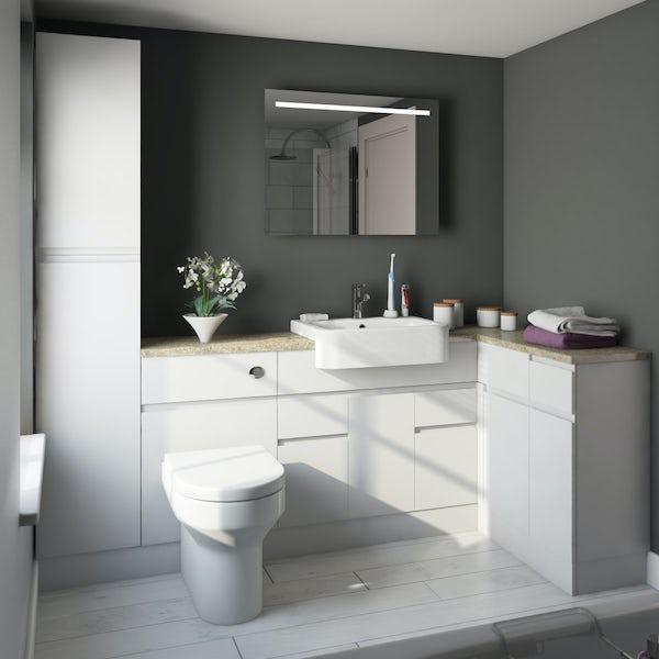 Orchard Wharfe white corner medium storage fitted furniture pack with beige worktop