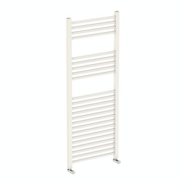 Eden round white heated towel rail 1200 x 490 offer pack