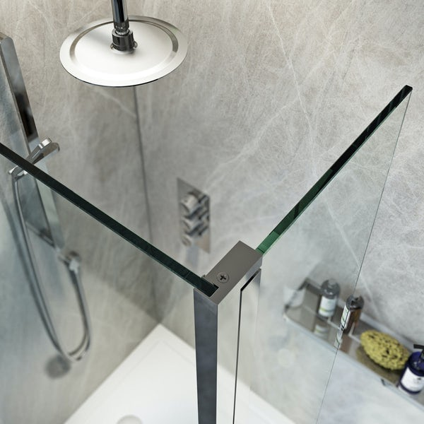 Mode 8mm spacious walk in shower enclosure pack with return panel and walk in tray