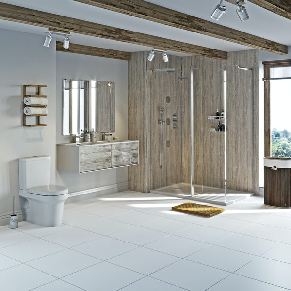 Mode Burton white and rustic wet room suite 1200 x 800