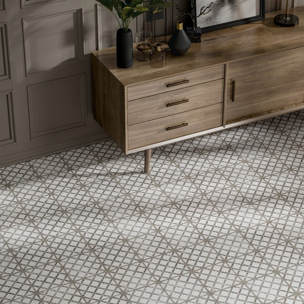 Aragon trellis grey matt wall and floor tile 200mm x 200mm