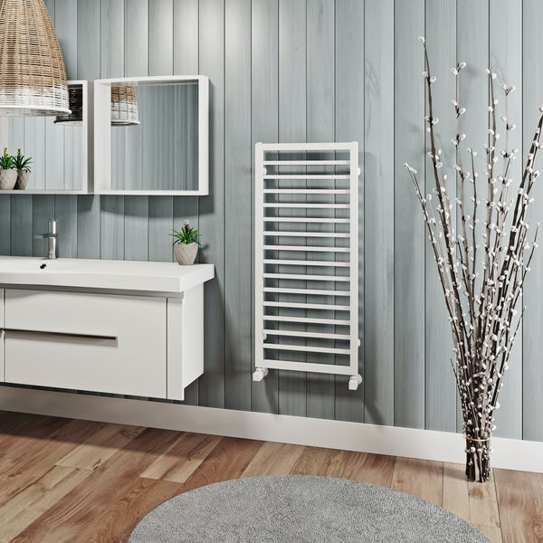 Mode Burton white heated towel rail 1000 x 450