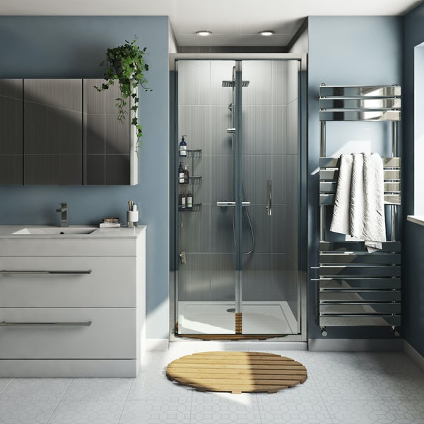 Orchard 6mm bifold shower door with round shower riser system