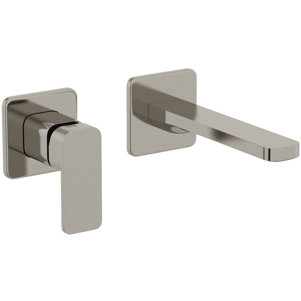 Mode Spencer square wall mounted brushed nickel bath mixer tap offer pack