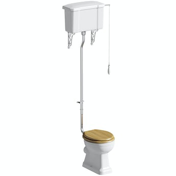 The Bath Co. Camberley high level toilet with oak effect soft close toilet seat