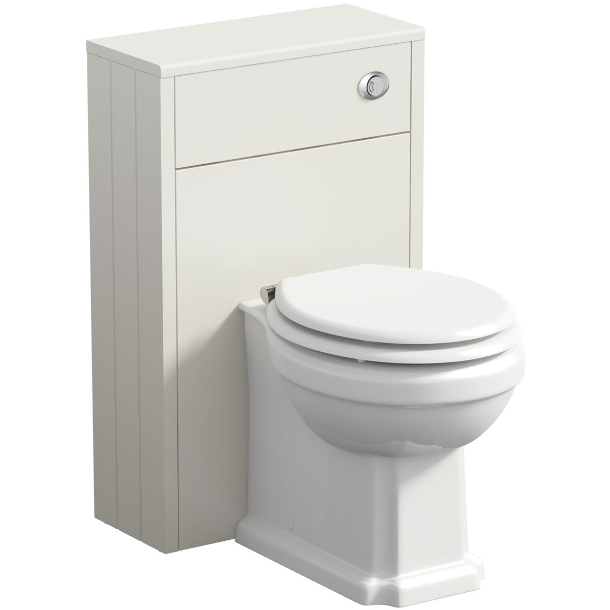 Traditional 500mm Bathroom Toilet BTW Back To WaIl Ivory Furniture Unit Pan Seat