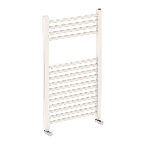 Eden round white heated towel rail 800 x 490