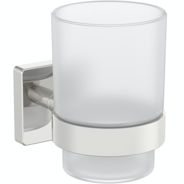 Accents square plate contemporary tumbler and holder