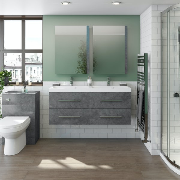 Orchard Kemp wall hung double vanity unit and basin 1200mm