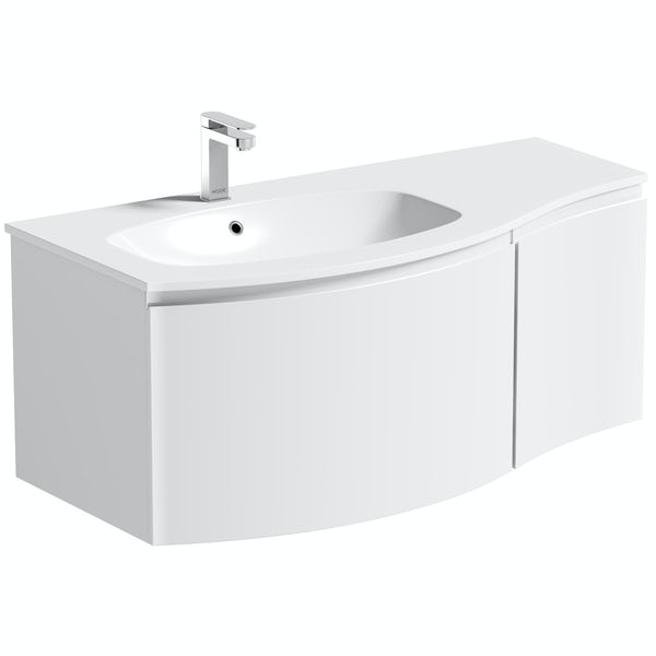 Mode Harrison snow left handed wall hung vanity unit 1000mm