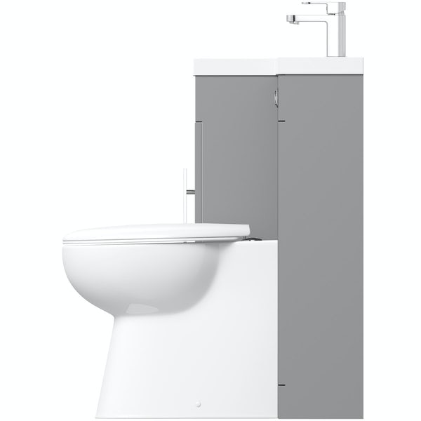 Orchard MySpace slate matt grey left handed combination unit with Clarity back to wall toilet