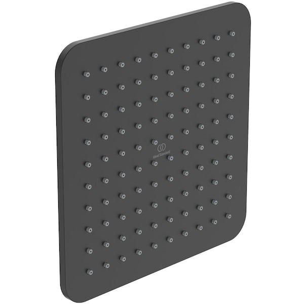Ideal Standard Idealrain silk black square 200mm shower head + wall arm