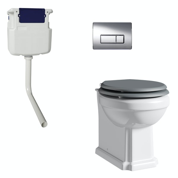 The Bath Co. Camberley back to wall toilet with grey soft close seat, concealed cistern and push plate