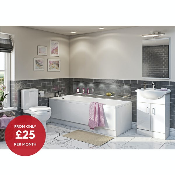 Orchard Eden complete white vanity bathroom suite with straight bath