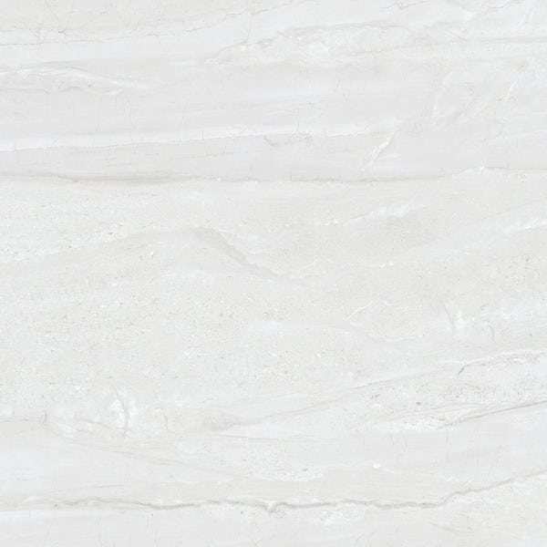 Comet light grey marble effect gloss wall and floor tile 800mm x 800mm