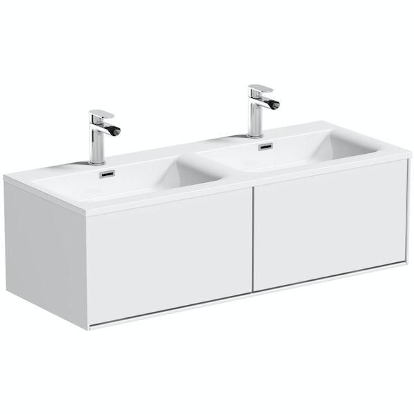 Mode Burton white wall hung double basin vanity unit 1200mm