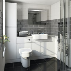 Main image for Orchard Wharfe white straight small storage fitted furniture pack with white worktop