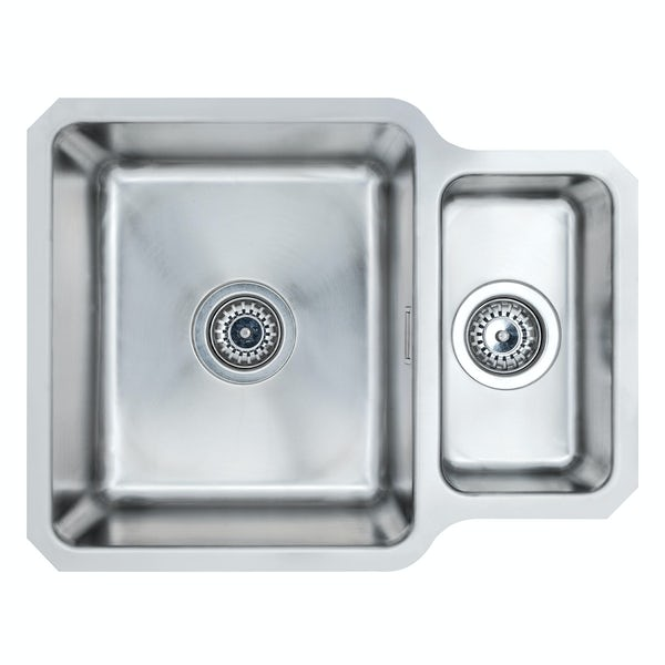 Schon Rydal universal undermount 1.5 bowl stainless steel kitchen sink with waste