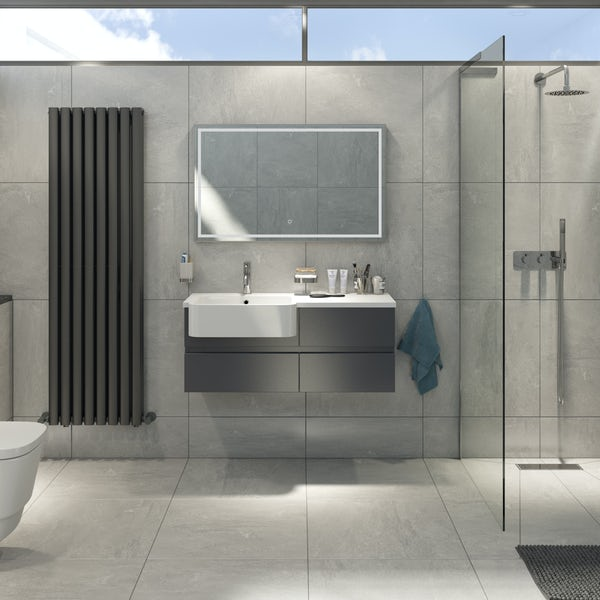 Mode Roche grey wall hung vanity and semi-recessed basin 1000mm