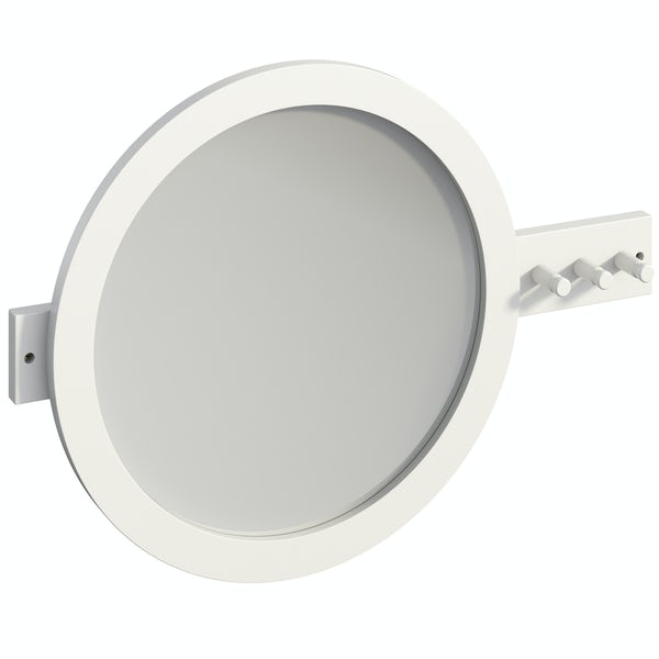 Mode South Bank white round mirror with robe hooks