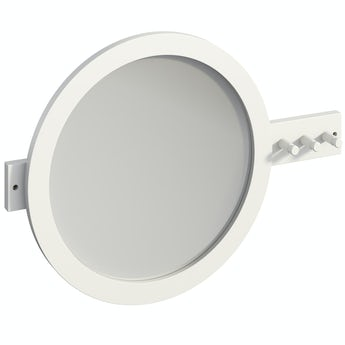 Mode South Bank white round bathroom mirror with robe hooks 500 x 700mm