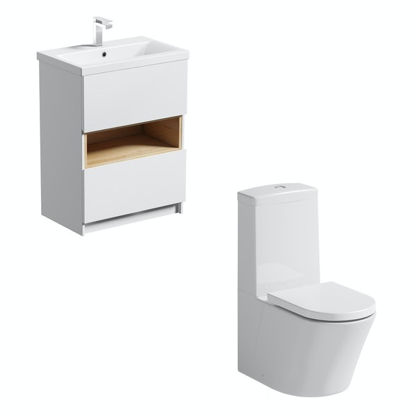 Mode Tate close coupled toilet and white and oak vanity unit suite 600mm