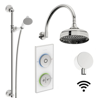 SmarTap white smart shower system with traditional slider rail and wall shower set