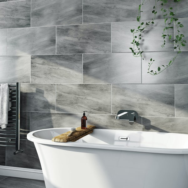 Arctic grey marble effect matt wall and floor tile 300mm x 600mm
