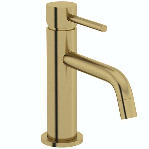Mode Spencer round brushed brass basin mixer tap