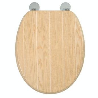 Croydex Geneva flexi fix antibacterial tongue & groove oak effect toilet seat