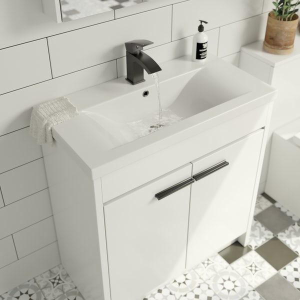 Clarity white floorstanding vanity unit and ceramic basin 760mm with tap and black handles