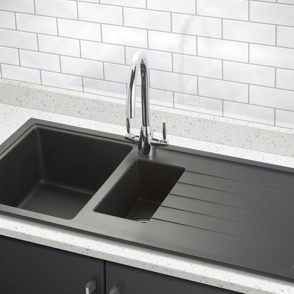 Schon Windermere universal 1.5 deep bowl black granite kitchen sink with waste
