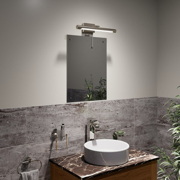 Forum LED mirror and picture bathroom light in brushed silver