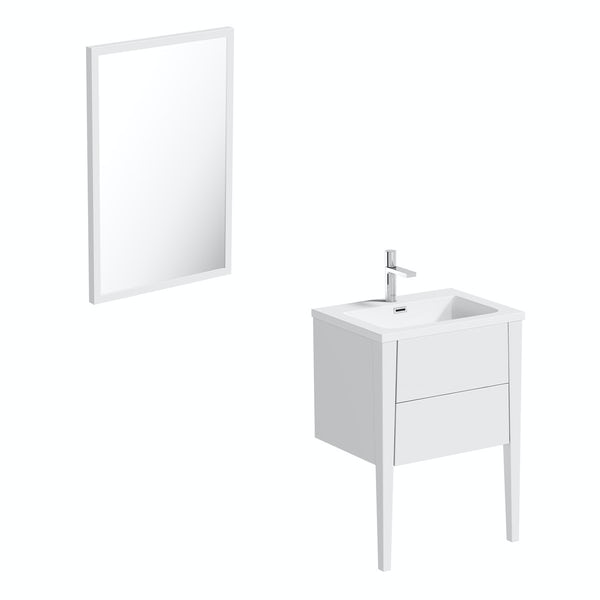 Mode Hale white gloss vanity unit and basin 600mm with mirror